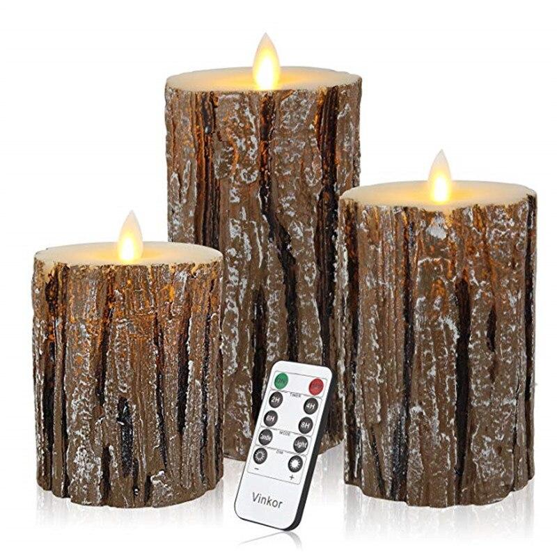 Menos Pilar decoración del hogar 3 uds luz LED tipo vela velas de batería lámpara llama Control remoto velas de cumpleaños para pastel - 5