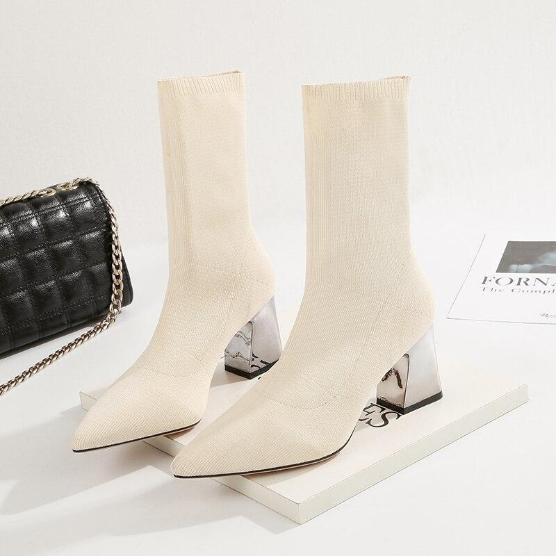 2019 г. Весенние модные женские Ботинки бежевые эластичные ботильоны с острым носком обувь на толстом каблуке осенне зимние женские носки