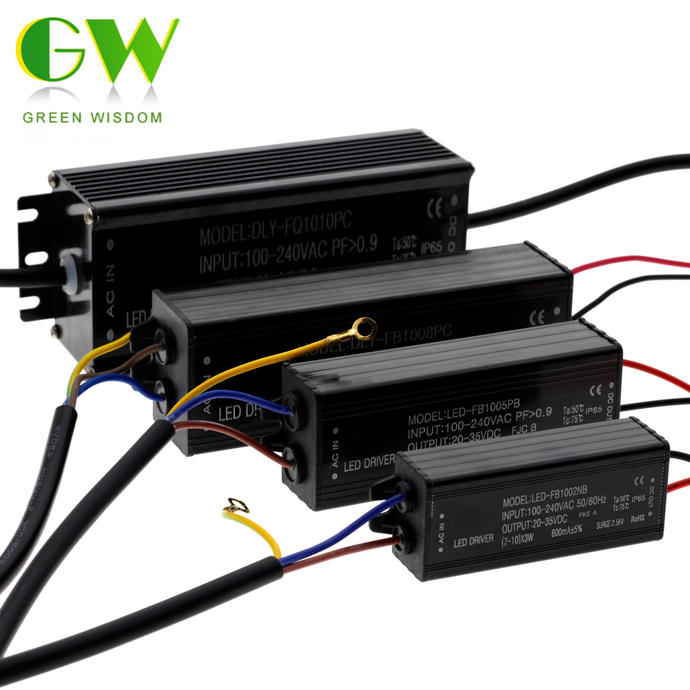 Waterproof LED Power Supply IP65 DC20-42V Driver Adapter 10W 20W 30W 50W 80W 100W Ligthing Transformer