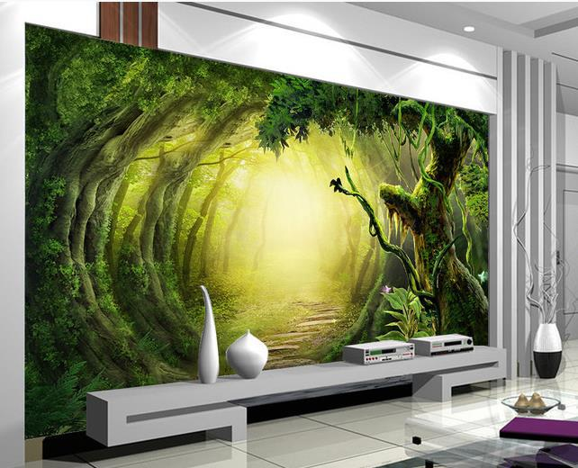 Non woven wallpaper 3d fantasy forest trail mural for 1wall forest wallpaper mural
