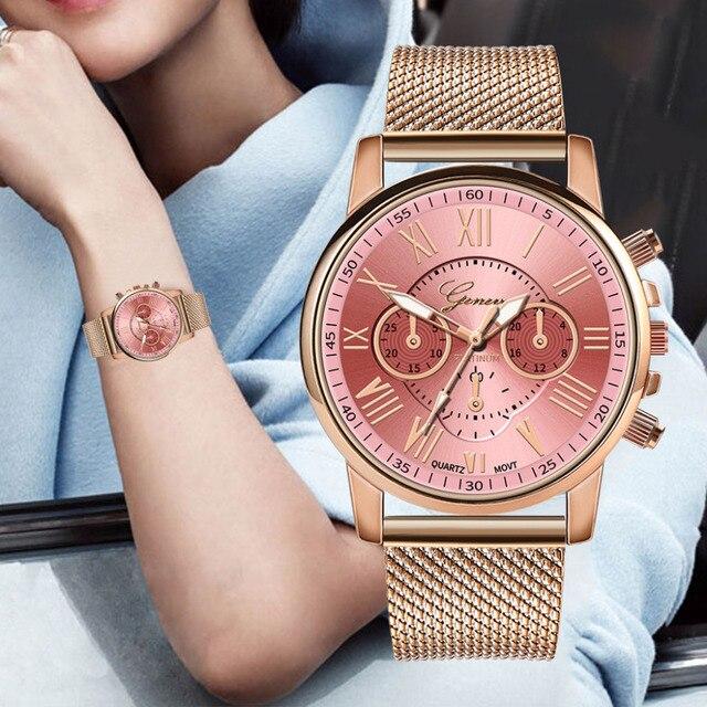 GENEVA Fashion Classic Women Watch Quartz Stainless Steel Wrist Watch Bracelet W