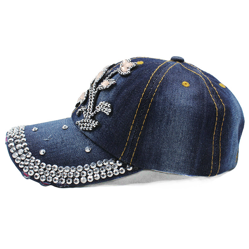 womens baseball caps bling high quality rhinestones lady cap fashion leisure woman vintage jean cotton ladies with hats
