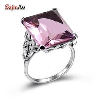 Szjinao Fashion Rings for Women Female Anel Big Stone Wedding Bohemian 925 sterling Silver Ring Pink Crystal Fine Jewelry Viking