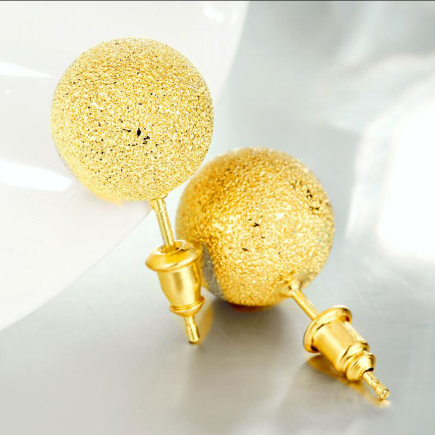 071466951 New Gold Dull Polished Brass Ball Stud Earrings Men Girls Boys Earrings  Round For Men Women-in Stud Earrings from Jewelry & Accessories on  Aliexpress.com ...