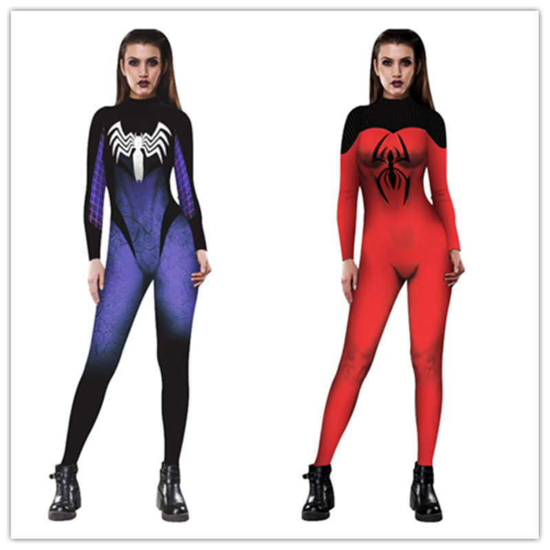 Spiderman Jumpsuit Catsuit Character Sexy Cosplay Costumes Spider-Man Women Bodysuit Fancy Dress for Halloween Purim party