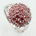 ASHLEY Rodada Criado Red Garnet CZ Branco Anéis de Prata Chapeado Para Mulheres Anel de cristal do Sexo Feminino Jóias Tamanho 6 7 8 9 10 Dom Gratuito caixa