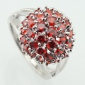 ASHLEY Round Red Created Garnet White CZ Silver Plated Rings For Women Crystal Ring Female Jewelry Size 6 7 8 9 10 Free Gift Box
