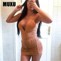 MUXU Fashion Velvet Dress Women High Quality Sexy Womens Clothing Suspender Dress Vestido De Festa Bandage