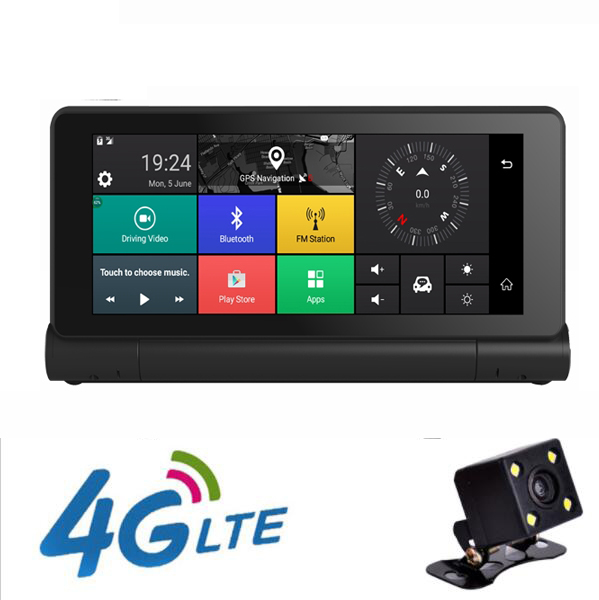 4G Car DVR Rearview Mirror 7inch GPS Navigatior Remote Monitor Smart Android 5 1 Bluetooth Dual