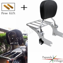 Papanda Chrome Motorcycle Adjustable Rear Passenger Sissy Bar Luggage Rack Backrest Pad for Harley Touring FLHT FLHX FLTR