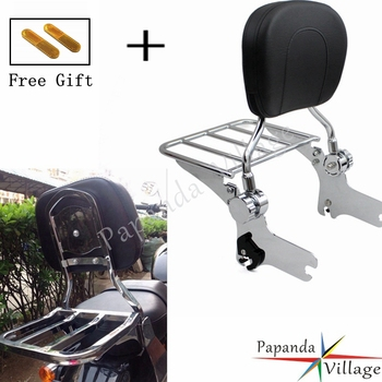 Papanda Chrome Motorcycle Adjustable Rear Passenger Sissy Bar Luggage Rack Backrest Pad for Harley Touring FLHT FLHX FLTR