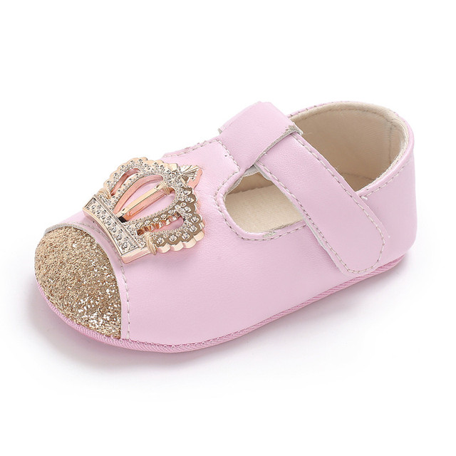 2018 New Bling Crown Toddler Baby Girl Shoes 1 year Birthday Party Flat Princess shoes Fashion First Walkers 0-18 Months