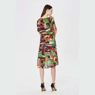 Color Club Printted Vintage D'été Lx1724 Femelle 100 Lait Robes 2018 Soie Cou Femmes Robe Élégant Un Party Pictur qUBAFTw