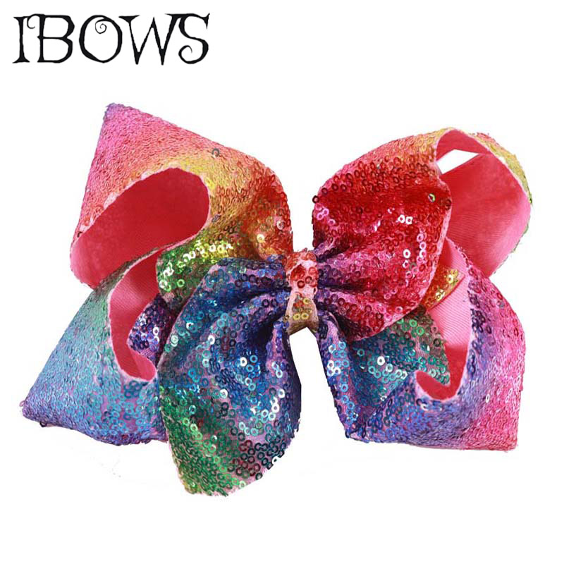 8 Inch Women Girls Sequin Cheerleading Hair Bow Glitter Grosgrain Ribbon Bows With Clips Kids Headwear Hair Accessories