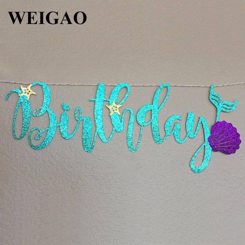 WEIGAO 1Set Birthday Party Decoration Glitter Happy Birthday One Mermaid Party Garland Banner Baby Shower Party Supplies