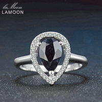 Lamoon 6X9mm Teardrop 100% Echt Burma Black Sapphire 925 Sterling Silber Ring mit S925 Für Frauen LMRI054