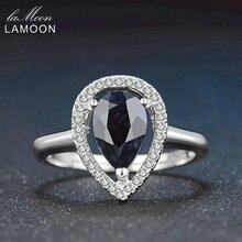 Lamoon 6×9 мм Teardrop 100% Настоящее Бирма черный сапфир 925 Серебряное кольцо с S925 для женщин LMRI054