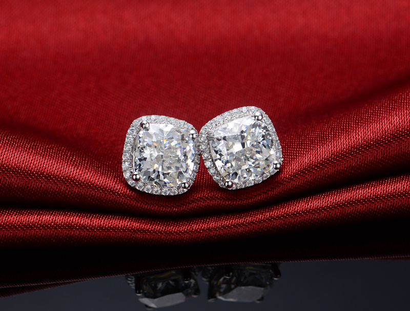 Solid 14k White Gold Earrings Jewelry Cushion Diamond Stud Women Au585 G14k Halo Paved In From Accessories
