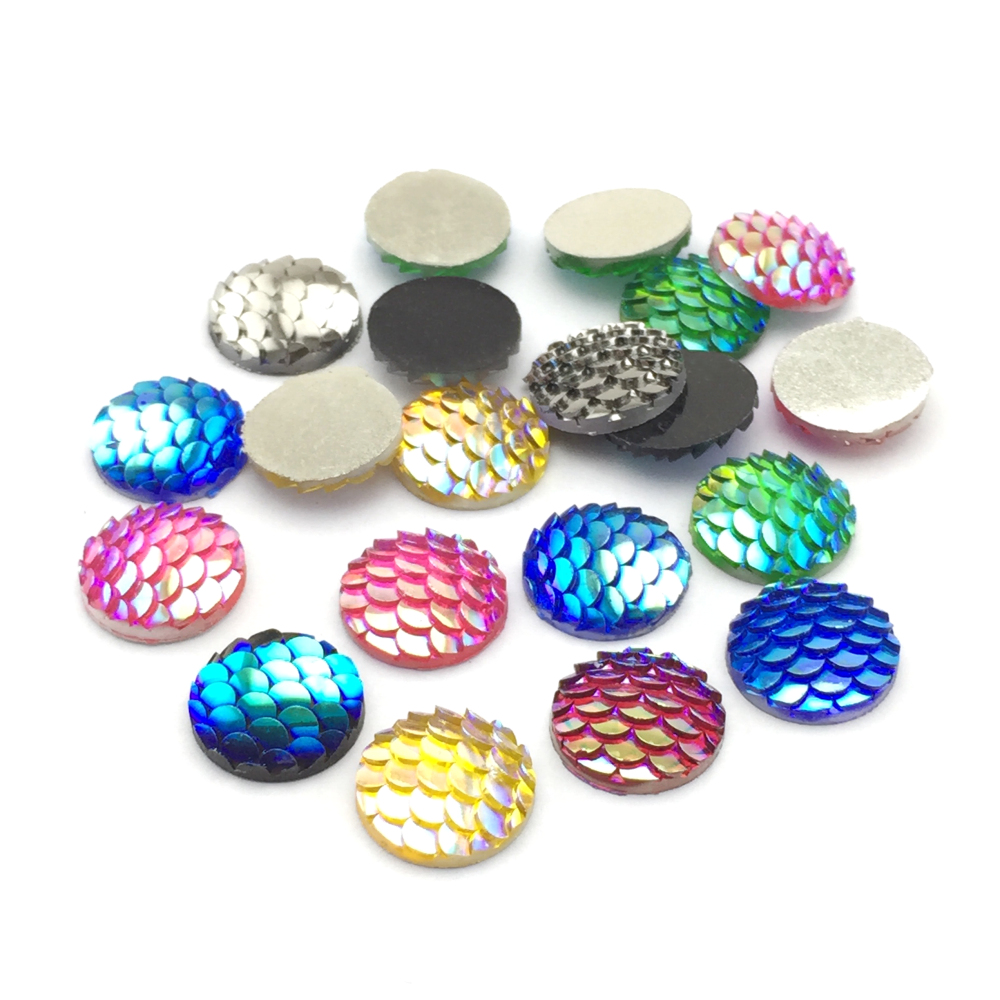 ZEROUP 20pcs 12mm Resin Cabochons Fish Scales Round Cameo Flat Back Cabochon Supplies for Jewelry Finding