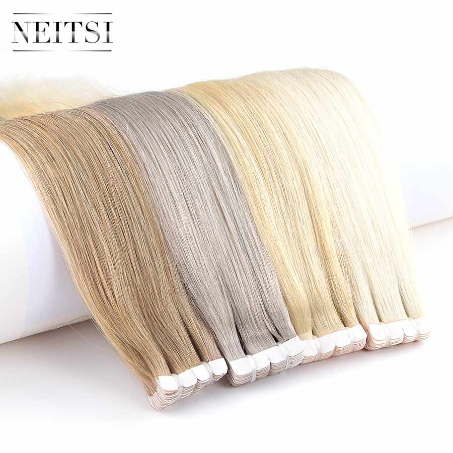 "Neitsi Mini Tape In Human Hair Adhesive Extensions None Remy Straight Skin Weft Natural Hair 12"" 16"" 20"" Blonde Color"