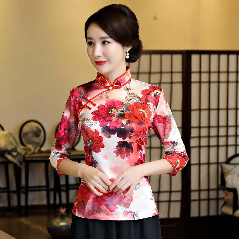 Fashion Chinese Womens Shirt Polyester Rayon Tops Mandarin Collar Blouse Sexy Lady Clothing Dress Flowers Top S 3XL