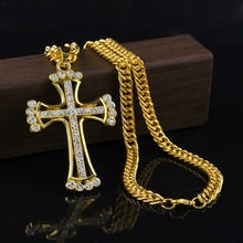 90 cm Hip Hop Rapper Fresca JESÚS Cristo Cruz Colgante Largo Hombres collar de Cadena de Oro Masculina Cristiana Joyería de Cadena Barato Para hombres
