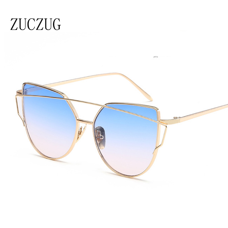 ZUCZUG Zonnebril Dames Luxe Cat eye Design Spiegel Flat Rose Goud Vintage Cateye Mode zonnebril lady Eyewear