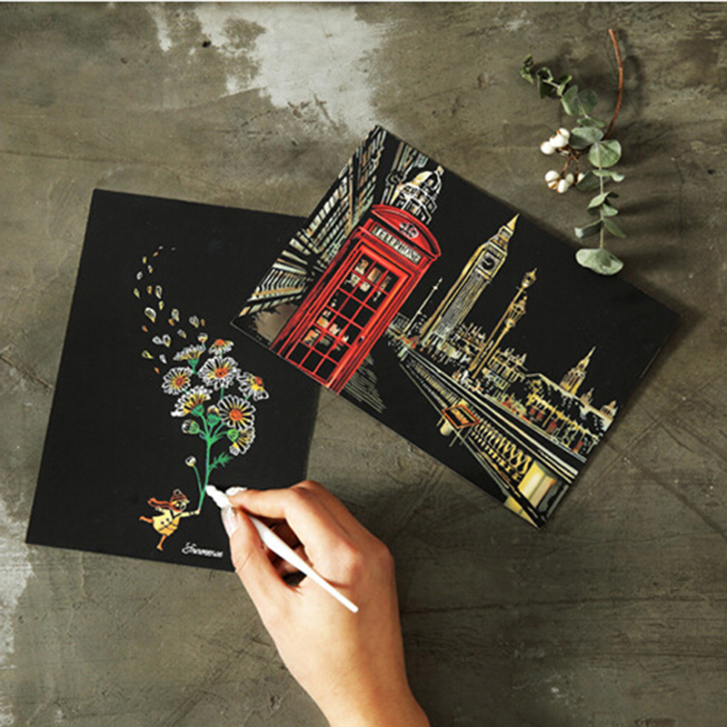 4pcs=1 Sheet 20x14cm Scraping Painting Paint Scratch Night View Vintage Postcards Drawing View Fireworks  Postcard