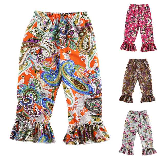 5913ae798 Promotion Kikikids Retail New Floral Design Woven Cotton Baby Trousers  Children's Pants Girl Ruffle Pant Kids Legging 1-6t