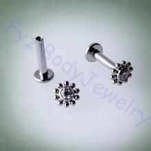 G23 Titanyum 14G 16G Iç Dişli Labert Dudak Piercing Kulak Tragus Cartilalges Saplama göbek takısı
