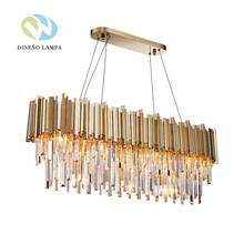New Modern Gold Crystal Metal Chandelier Light Fixture Pendant Hanging lamp for Parlor Dining Room Restaurant Decoration(China)