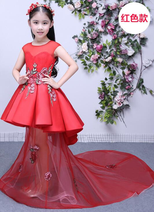 цены Baby girls elegant train lace dresses children satin pink purple red kids long tail evening gown party wedding christmas