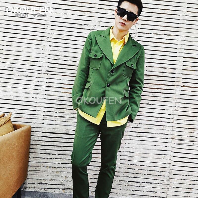 Fashion New Men's Army Green Gun Barn Collar Suit Set Slim Suit Singer Hair Stylist tide nightclub dancer stage show dance wear
