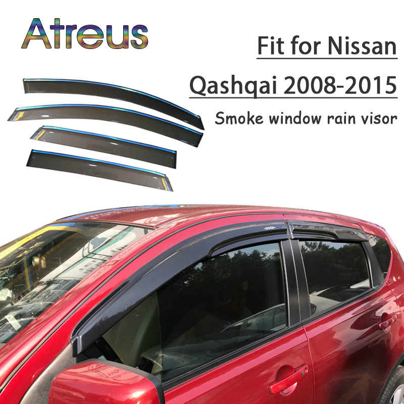 все цены на Atreus 1set ABS For 2018 2017 2016 2015-2008 Nissan Qashqai Accessories Car Vent Sun Deflectors Guard Smoke Window Rain Visor онлайн