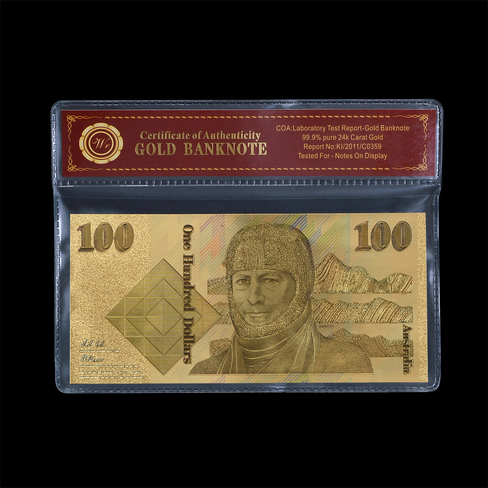 Best Seller Australia Old Money 100 Pound in Colorful Pure Gold Banknote Luxurious Notes