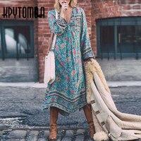 Bohemia Lacing Up V Neck Floral Print Dress 2017 New Fashion Vintage Woman Long Sleeve Tassel