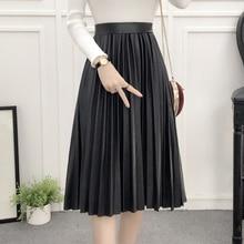 Autumn Winter Women Skirt Fashion PU Leather Solid Long Skirt Elasticity Waist Pleated Knee-length Skirts Black Lady Skirt
