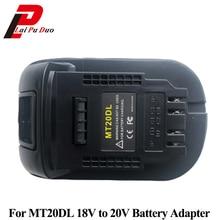 Adapter konwertera MT20DL do konwertera Dewalt do akumulatora litowo jonowego Makita 18V BL1830 BL1860 BL1815 do Dewalt 18V 20V DCB200
