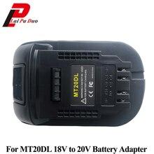 Mt20dl conversor adaptador para dewalt converter para makita 18 v li ion bateria bl1830 bl1860 bl1815 para dewalt 18 v 20 v dcb200