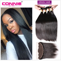 Malaysian Straight Hair With 13*4 Lace Frontal 7A Malaysian Virgin Straight Hair 4 Bundles With Closure Remy Human Hair Bundles