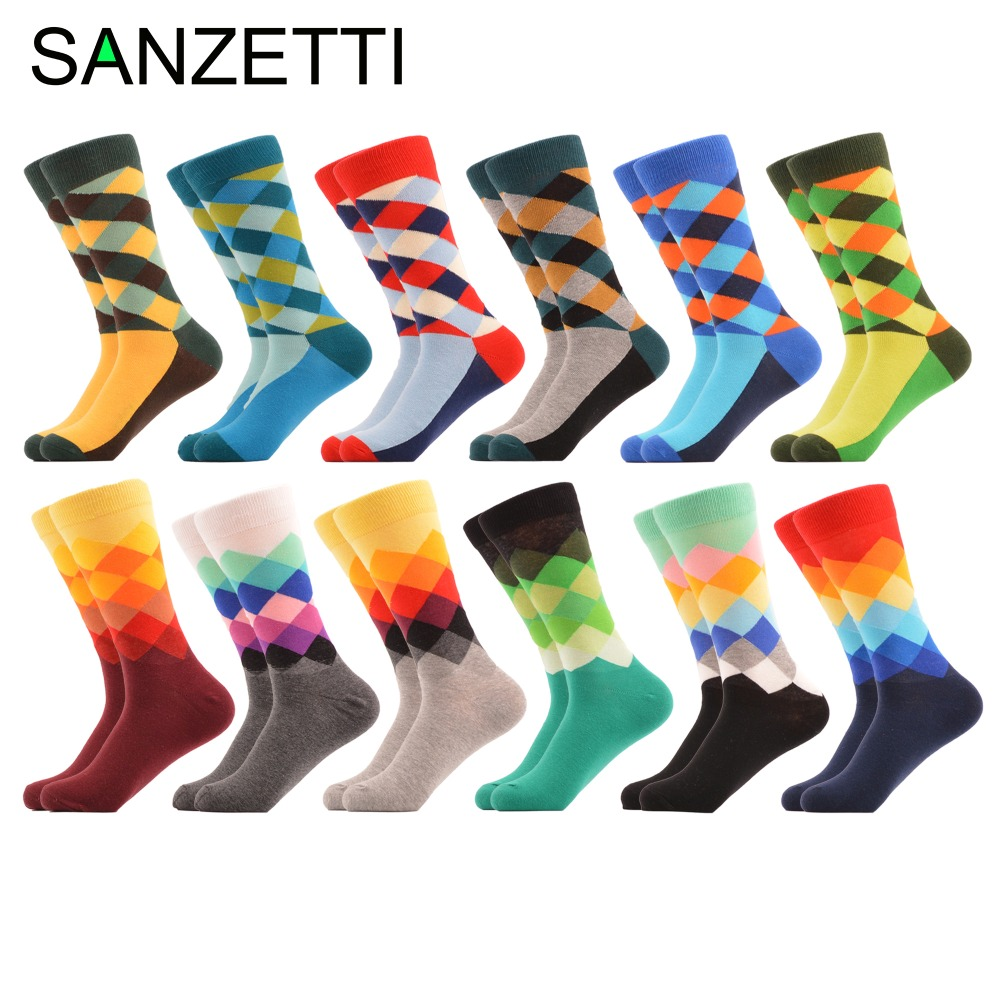 SANZETTI 12 Pairs/lot Men's Colorful Argyle Combed Cotton   Socks   Funny Striped Dot Multi Set Dress Casual Crew   Socks   Happy   Socks