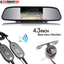 Koorinwoo Universal 2.4G Wireless Adopter Car Mirror Monitor Screen 800*480 With CCD Car Rear View Camera 12V Video System