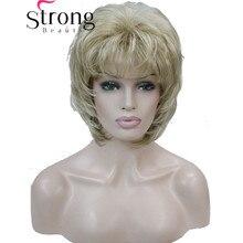 StrongBeauty Короткий Мягкий Лохматый Слоистых Блондинка Классический Cap Полный Синтетический Парик женские Парики