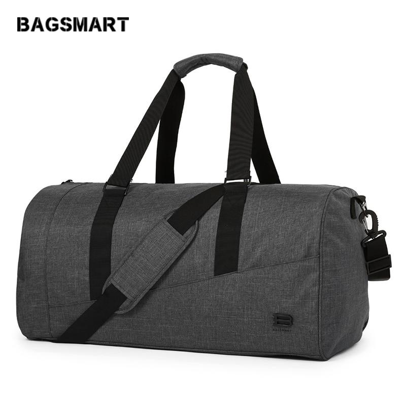 BAGSMART Hombres Bolsa de viaje de gran capacidad Bolsa de equipaje Bolsa de viaje de nylon Duffle Zapato Bolsillo Bolsas de viaje de fin de semana durante la noche