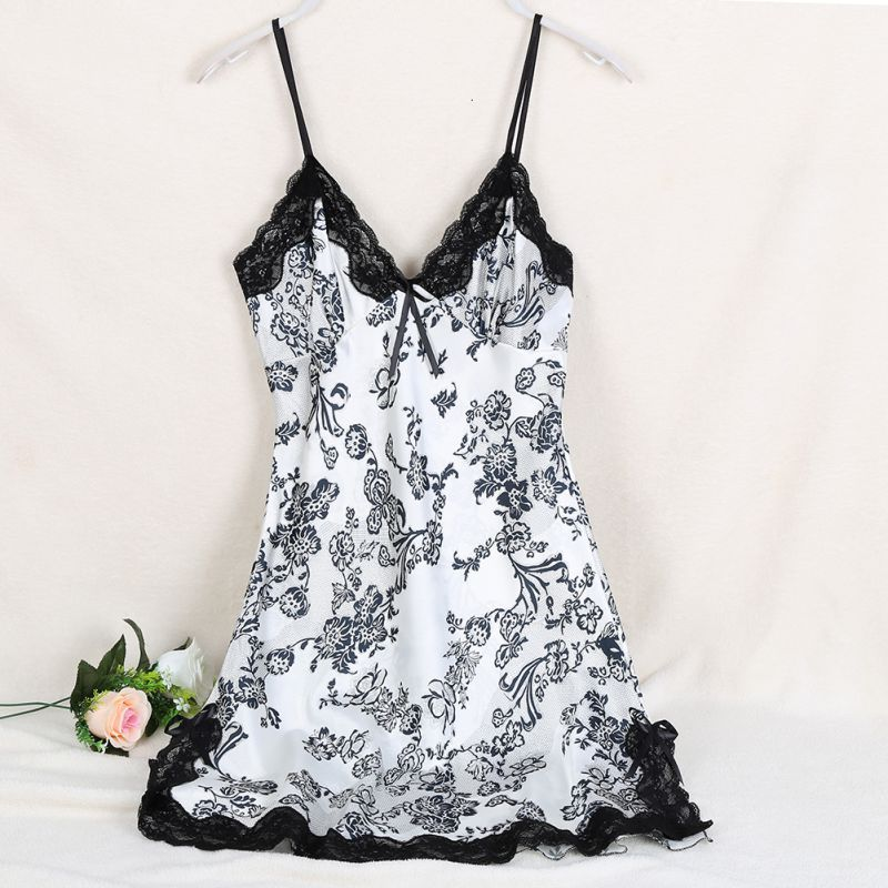 Ladies Sexy Silk Satin Night Dress Sleeveless V-neck Nightgown Lace Sleepwear For Women