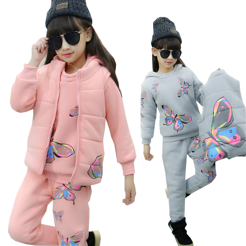 Girls Winter Clothes Children Clothing Sets Kids Sport Suit Butterfly Print Cotton Clothes Girls Clothing set Kids Tracksuit 3pc humor bear girls clothes girls sets summer set 2018 kids clothes girls clothing sets two piece kids suit children clothing