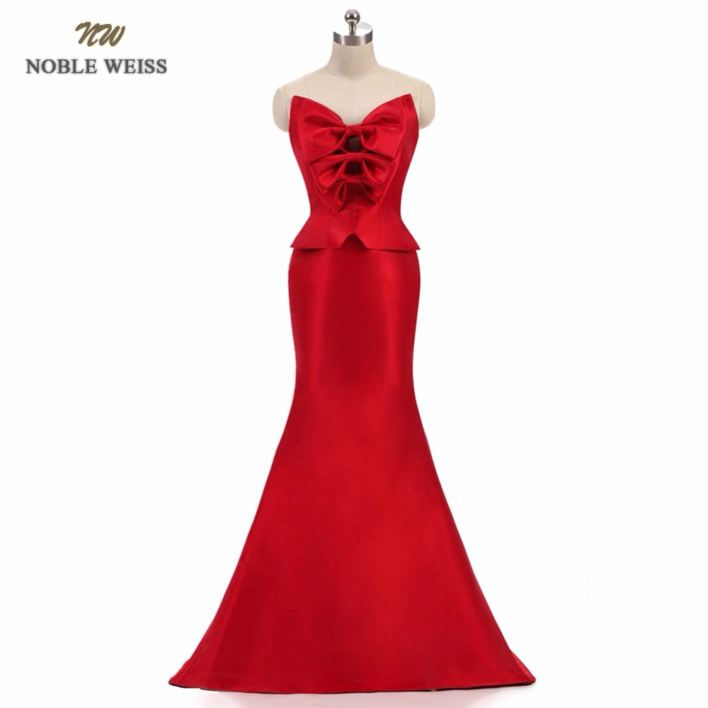 NOBLE WEISS New Arrived 2018 fashion formal long elegant party vestido longo robe de soiree satin gown mermaid evening dress