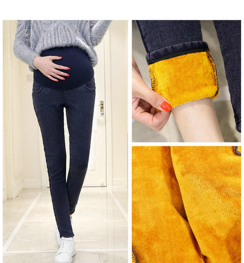 8a62d6110d865 ... Pregnancy Clothes Jeans for Pregnant Woman Autumn Winter Fleece Denim  Thickened Maternity Clothes Support Bell Premama ...