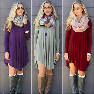 2017 Women Mini Dress Long Sleeve Casual Jumper Pullover Irregular Chiffon O-neck Gray Purple Red Green Solid Dresses