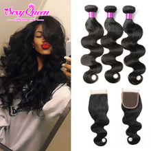 Lula ms weave lace wave body closure bundles and human virgin